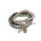 Swarovski Pearl and Crystal Bracelet - 3 Strand (Black, Pink and Grey)
